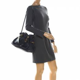 Chloe Navy Blue Leather Medium Paraty Shoulder Bag 224009