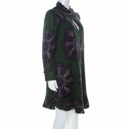 Marc By Marc Jacobs Green Wool & Silk Blend Peacock Paisley Print Short Dress L 226801