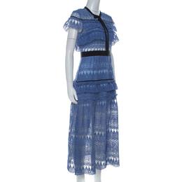 Self-Portrait Blue Teardrop Guipure Lace Ruffled Daphne Midi Dress M 226724