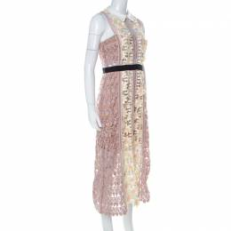 Self-Portrait Pink-Beige & Yellow Floral Guipuire Lace Peter-Pan Collar Midi Dress M