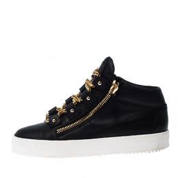 Giuseppe Zanotti Design Black Leather Gold Chain Laces Dual Zip Sneakers Size 42 226797