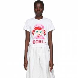 Comme Des Garcons Girl White Cotton Girl T-Shirt ND-T011-051