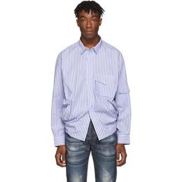 Martine Rose Blue Striped Shock Cord Shirt MRAW19-425B