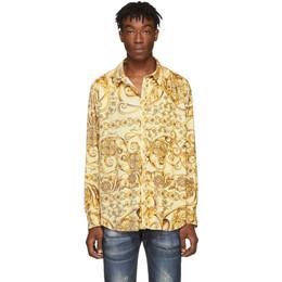 Martine Rose Yellow Classic Pleated Shirt MRAW19-428