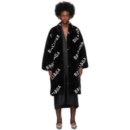 Balenciaga Black Faux-Fur Logo Opera Coat 583846-TGQ02