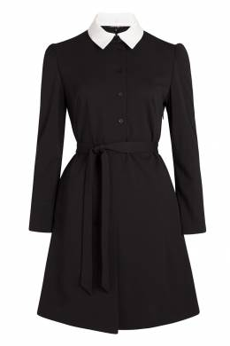 Черное платье-рубашка с белым воротником Terekhov Girl 2138152855
