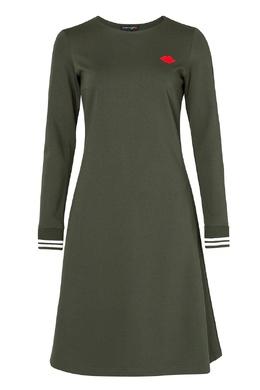 Платье оттенка хаки с аппликацией Terekhov Girl 2138152863