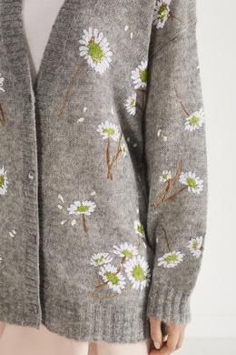 Серый кардиган с цветочной вышивкой Miu Miu 375152965