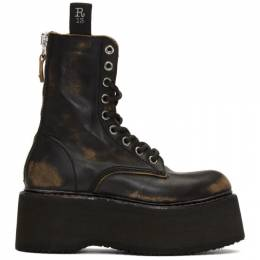 R13 Black Double Stacked Lace-Up Boots R13S0019-R01