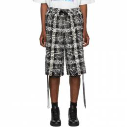 Faith Connexion Black and White Tweed Laced Check Shorts X1504T00514