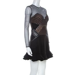 Self-Portrait Black Crepe and Lace Ruffle Detail Paneled Dress S