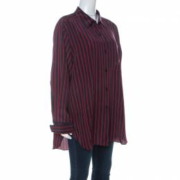 Sonia Rykiel Navy Blue & Red Striped Silk Crepe De Chine Shirt XL
