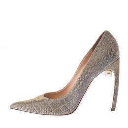 Nicholas Kirkwood Metallic Gold Glitter Fabric Pearl Embellished Pointed Toe Pumps Size 40 226853