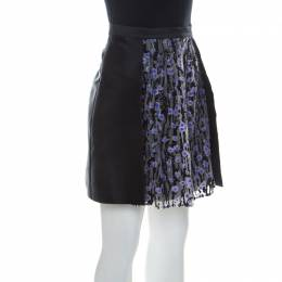 Carven Black Silk Satin and Tulle Embellished Detail Meduse Short Skirt M