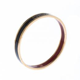 Carolina Herrera CH Logo Enamel Gold Tone Narrow Bangle Bracelet Ch Carolina Herrera