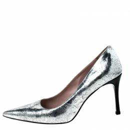 Miu Miu Silver Metallic Leather Specchio Pointed Toe Pumps Size 38.5 227277