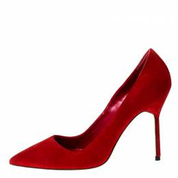 Manolo Blahnik Red Suede BB 70 Pointed Toe Pumps Size 37