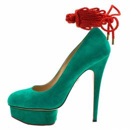 Charlotte Olympia Green Suede Dolly Platform Pumps Size 39.5