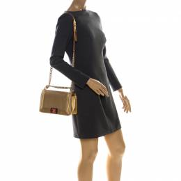Chanel Gold Cube Embossed Leather Medium Boy Flap Bag
