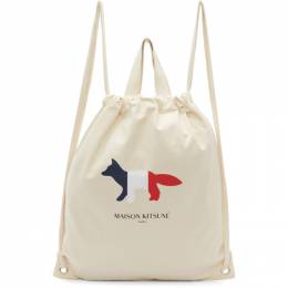 Maison Kitsune Off-White Tricolor Fox Tote Backpack 192389F04200101GB