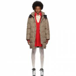 Gucci Beige and Black Down Oversized GG Coat 596124 Z8AFE