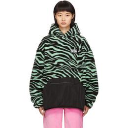 Ashley Williams SSENSE Exclusive Green Fleece Salem Tiger Hoodie AWAW19295