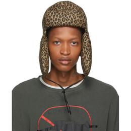 R13 Tan Leopard Canvas Trapper Hat R13W7533-PT