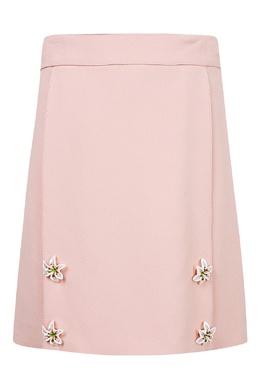 Прямая розовая юбка с цветами Dolce&Gabbana Children 1207153119