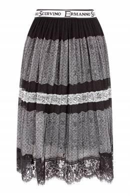 Черно-белая кружевная юбка Ermanno Scervino Children 1381153117