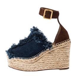 Chloe Blue Denim/Suede Fringe Ankle Strap Wedge Platform Espadrille Sandals Size 39 227831
