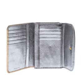 Miu Miu Gold/ Silver Metallic Leather Flap Wallet 227487