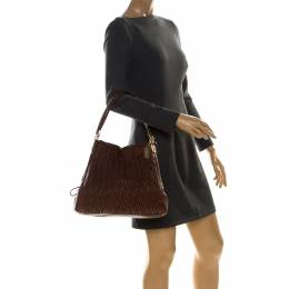 Coach Brown Leather Madison Phoebe Gathered Twist Shoulder Bag 227053