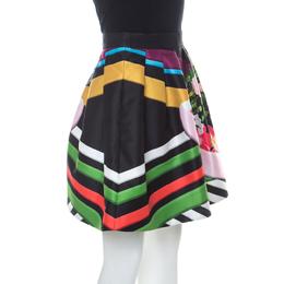 Mary Katrantzou Black Floral & Stripe Print Short Algernon Skirt S 227466