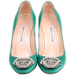 Manolo Blahnik Green Satin Okkaava Emerald Pumps Size 37