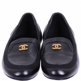 Chanel Black Leather CC Loafers Size 36