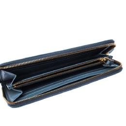 Prada Powder Blue Saffiano Metal Leather Zip Around Wallet 227437