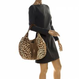 Jimmy Choo Beige Leopard Print Pony Hair and Suede Large Mandah Bag