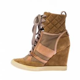 Chloe Beige/Brown Suede Leather And Canvas Lace Up Wedge Ankle Boots Size 38 227989