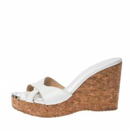 Jimmy Choo Wihte Leather Prima Cork Wedge Platfrom Sandals Size 38