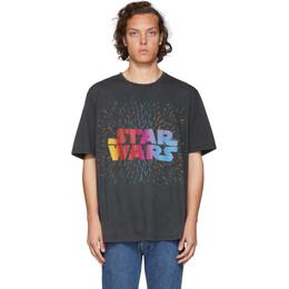 Etro Black and Green Star Wars Edition Logo Paisley T-Shirt 1Y820 9051