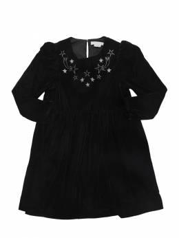 Платье Из Бархата С Вышивкой Stella McCartney Kids 70I6SH018-MTA3Mw2