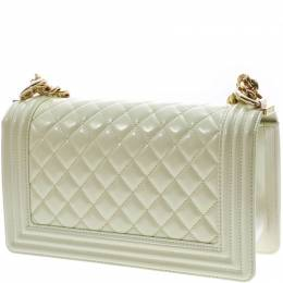 Chanel Mint Green Quilted Patent Leather Medium Boy Flap Bag 265443