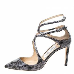 Jimmy Choo Grey/Black Python Leather Lancer 85 Pointed Toe Sandals Size 38