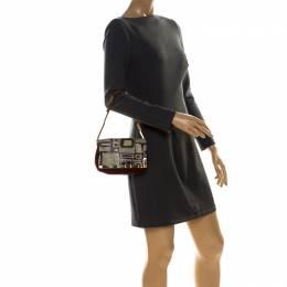 Emilio Pucci Multicolor Suede and Metal Armored Mesh Flap Shoulder Bag