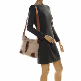 Aigner Beige/Brown Nylon and Leather Logo Buckle Crossbody Bag 226793