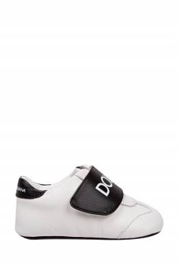 Белые пинетки с контрастной отделкой Dolce&Gabbana Children 1207154226