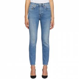 Re/Done Blue Originals High Rise Ankle Crop Jeans 163-3WHRAC