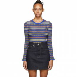 Opening Ceremony Blue and Multicolor Striped Sweater F19KAI12527