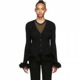 Opening Ceremony Black Ostrich Feather Cardigan F19KCK12518