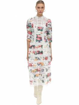 Printed Lace & Linen Midi Dress Zimmermann 70IXM8007-V0hJVEUgRkxPUkFM0